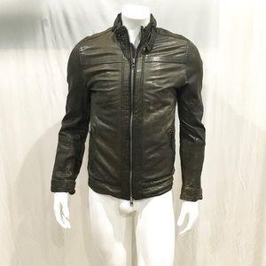 Allsaints Men's Brown Leather Biker Jacket